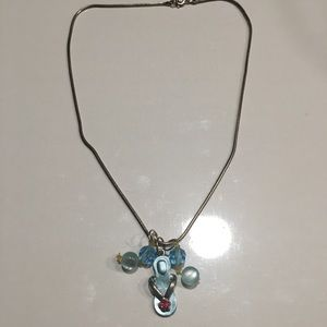 Silver chain w/removable blue charms and clasp